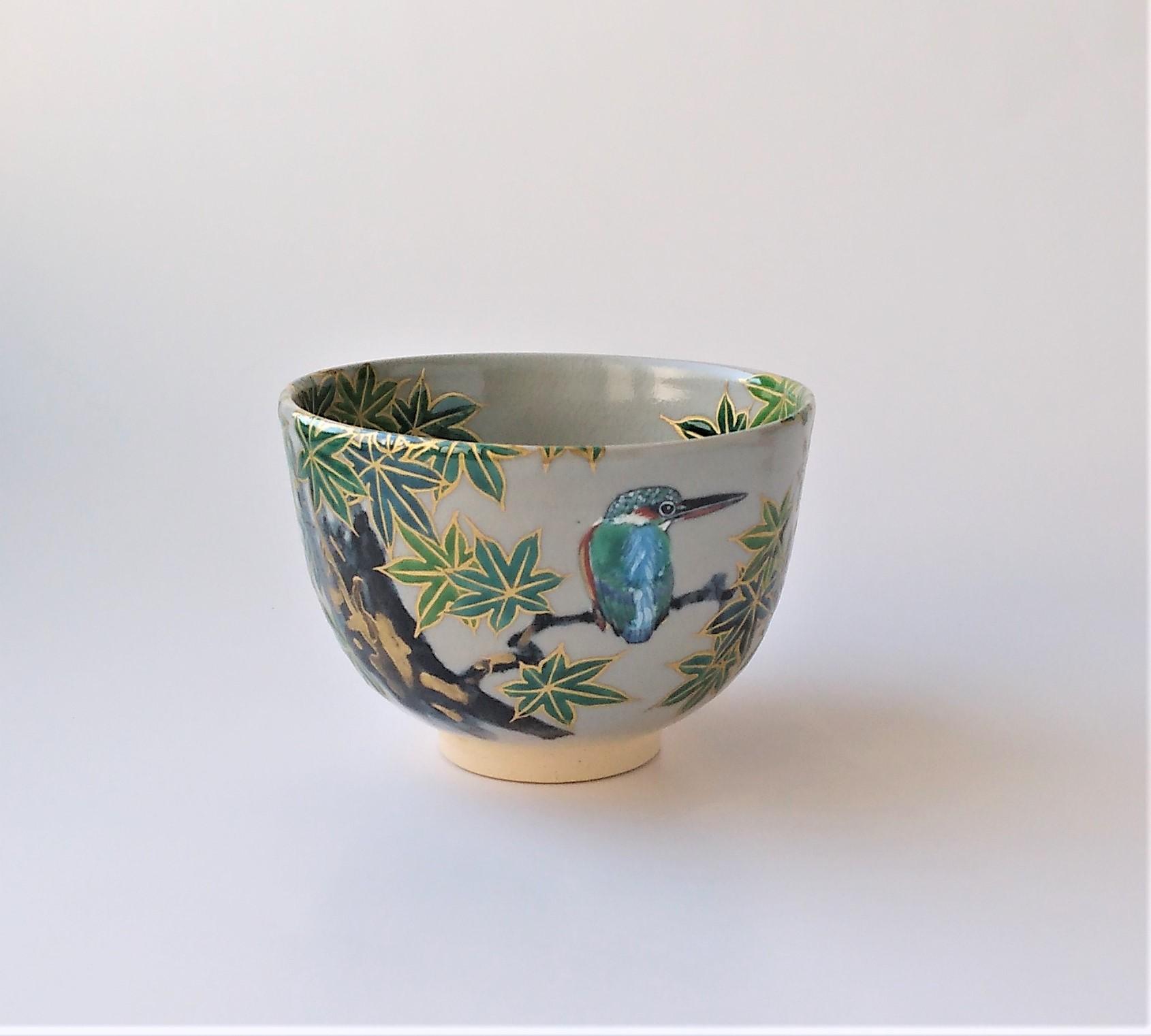 青楓に翡翠図 茶碗